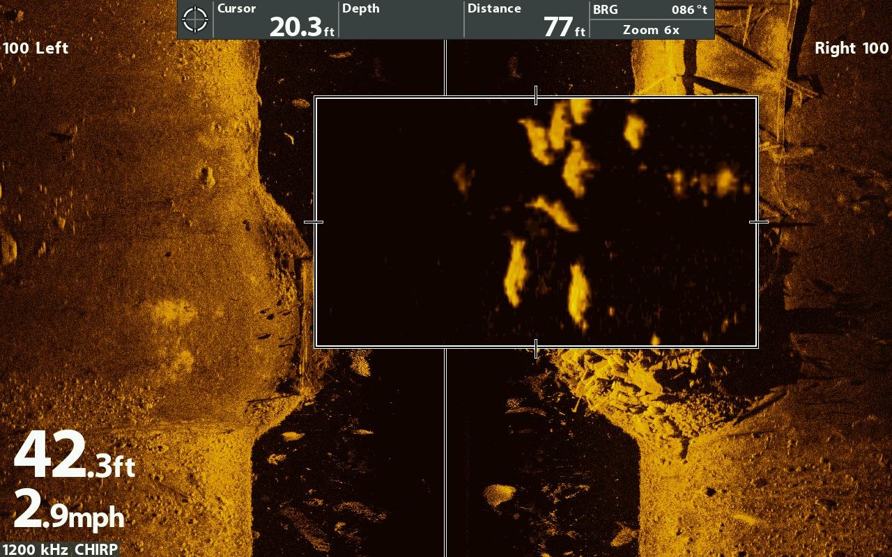 Mega imaging technologie humminbird navicom navicom for Fish finder side imaging
